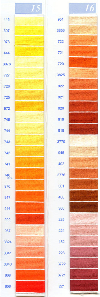 DMC Embroidery Floss Chart - Columns 15 & 16
