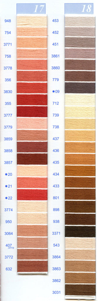 DMC Embroidery Floss Chart - Columns 17 & 18