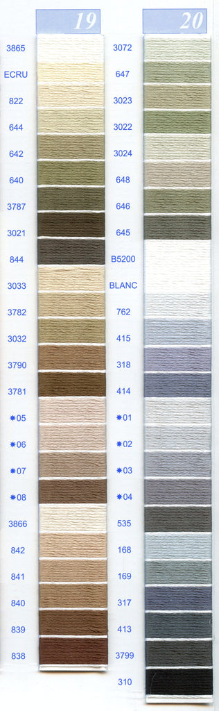 DMC Embroidery Floss Chart - Columns 19 & 20