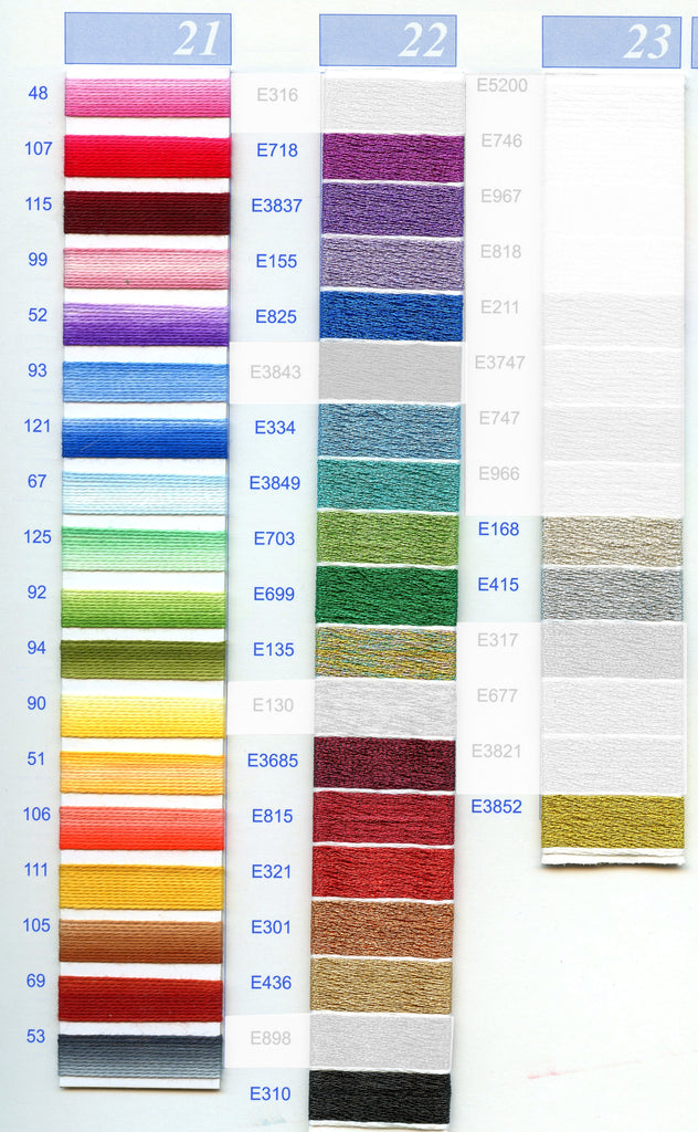 DMC Embroidery Floss Chart - Columns 21, 22, & 23