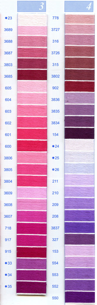 DMC Embroidery Floss Chart - Columns 3 & 4