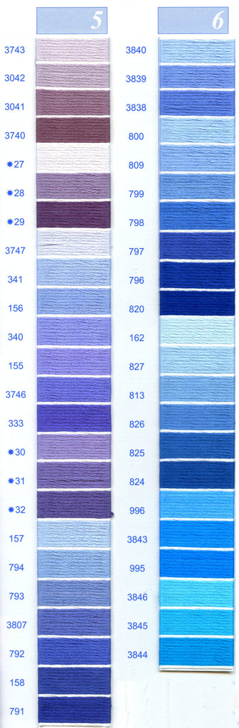DMC Embroidery Floss Chart - Columns 5 & 6