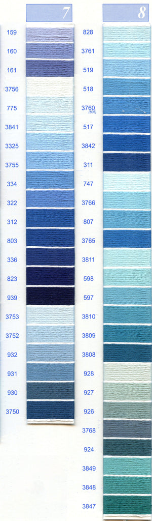 DMC Embroidery Floss Chart - Columns 7 & 8
