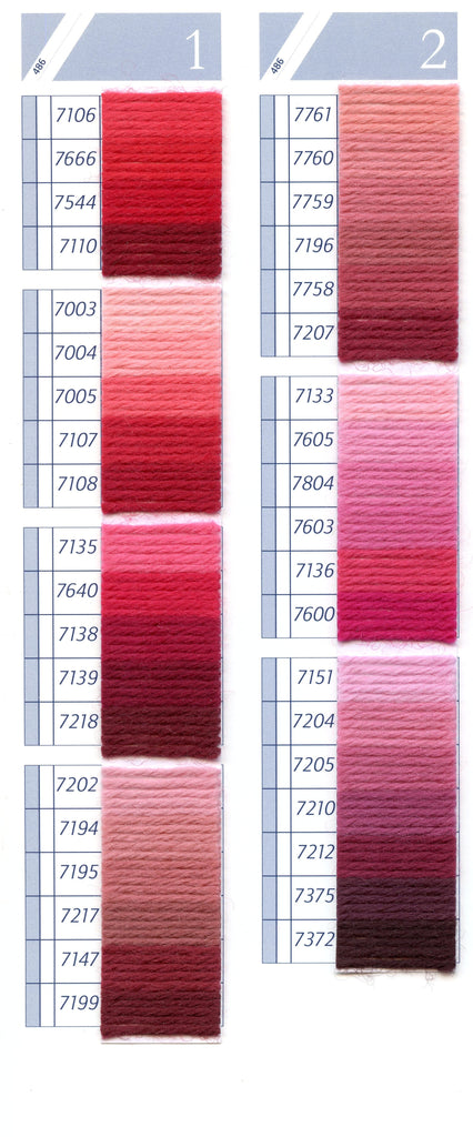 DMC Tapestry Wool Colour Chart - Columns 1 & 2