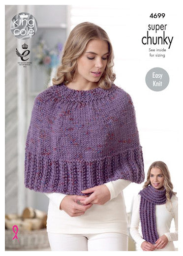Big Value Super Chunky Twist Leaflet 4699 - Textured Cape and Textured Scarf