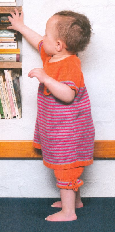 Sandnes Book 1309 - Design 16 - Striped Dress and Knee Pants