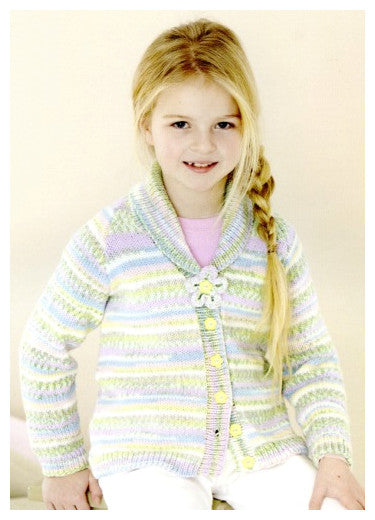Sirdar Book 501 - Cute Crofter Chums - Design 4675 - Shawl Collared Cardigan with Floral Embellishment