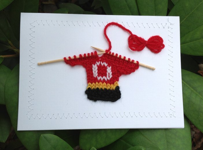 Blank Greeting Card - Red, Gold, Black, & White Hockey Sweater