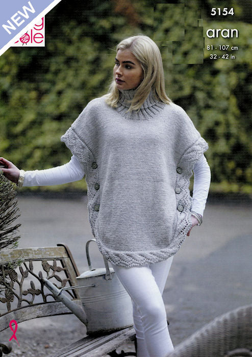King Cole Fashion Aran Leaflet 5154 - Poncho