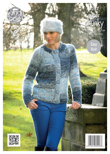 Big Value Super Chunky Tints Leaflet 4287 - Round Neck Raglan Cardigan