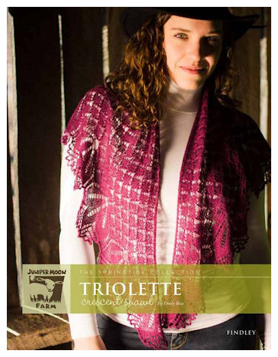 Triolette Crescent Shawl Pattern Leaflet by Emily Ross for Juniper Moon Farm