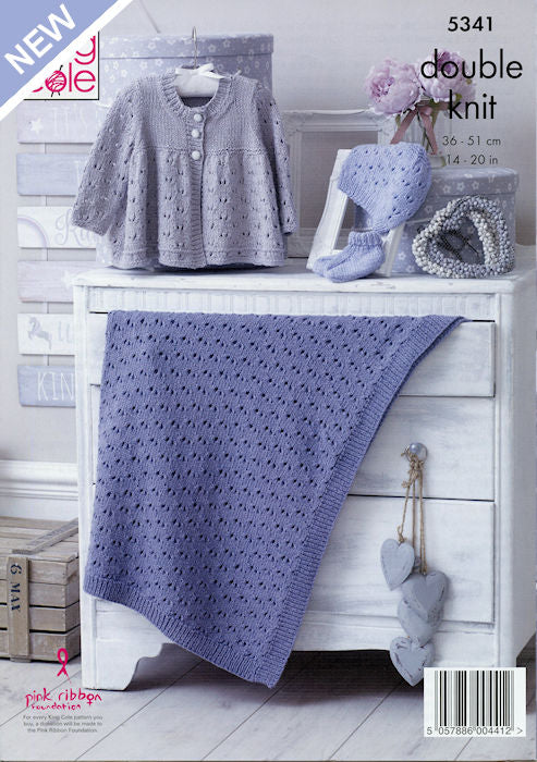King Cole Finesse Cotton Silk DK Leaflet 5341 - Matinée Jacket, Bootees, Hat, and Blanket