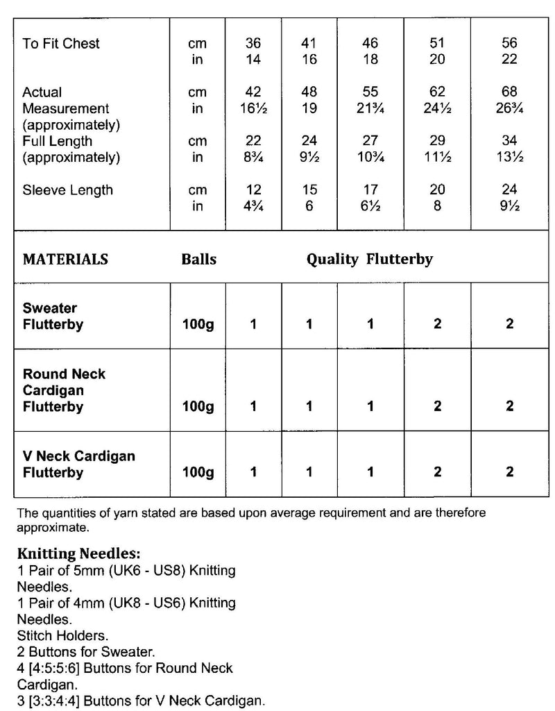 James C. Brett Flutterby Chunky Leaflet JB582 - Sizes and Materials