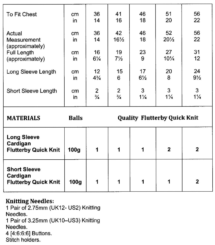 James C. Brett Flutterby Quick Knit Leaflet JB603 - Sizes and Materials