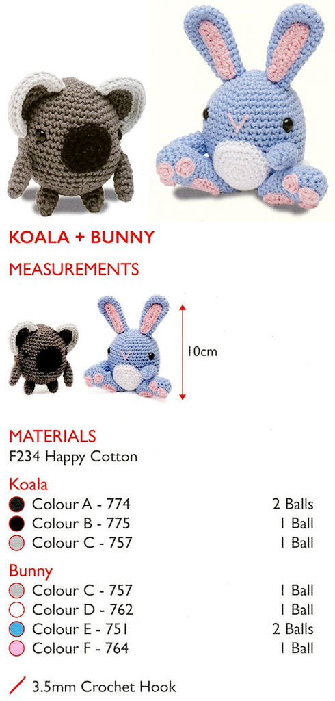 Sirdar Happy Cotton Book 1 - Koala & Bunny