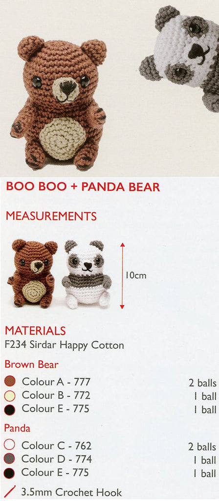 Sirdar Happy Cotton Book 2 - Boo Boo & Panda Bear