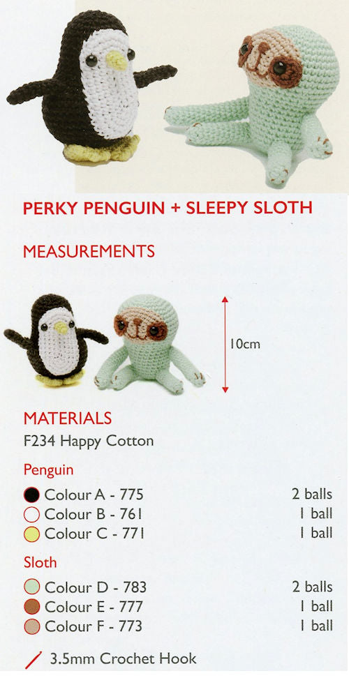 Sirdar Happy Cotton Book 2 - Perky Penguin & Sleepy Sloth