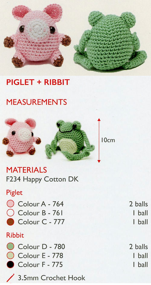 Sirdar Happy Cotton Book 2 - Piglet & Ribbit