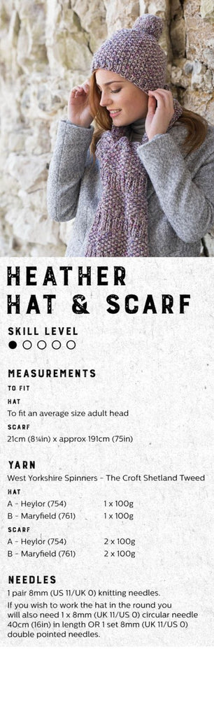 The Croft:  Shetland Tweed -- Heather Hat and Scarf