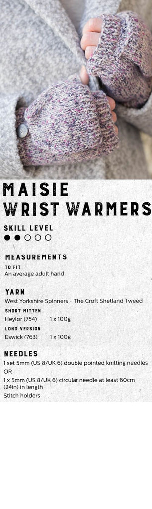 The Croft:  Shetland Tweed -- Maisie Wrist Warmers