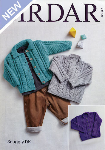 Sirdar Snuggly DK Leaflet 4943 - Round-Neck Cardigan, Flat-Collared Cardigan, Round-Neck Pullover