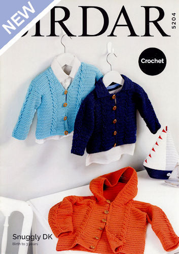 Sirdar Snuggly DK Leaflet 5204 - V-Neck Cardigan, Cardigan with Collar, Cardigan with Hood