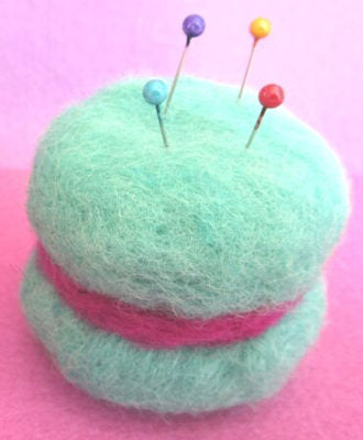 Felted Macaron Pincushion project for Needle Felting I - Introduction to Needle Felting
