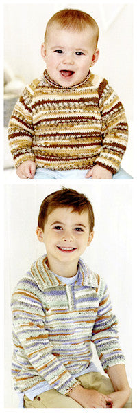 Sirdar Book 510 Baby Crofter Creations - Design 4753 Pullover with collar or rolled neck