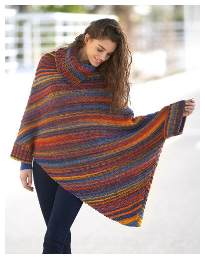 Katia Book 90 - Sport - Design 1 - Poncho with Cuffs in Azteca Milrayas