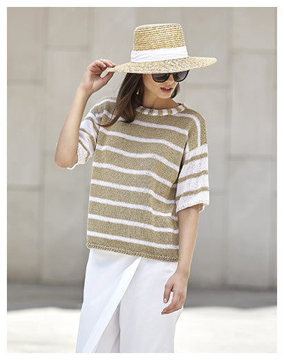 Katia No. 3 Concept - Design 13 - Striped Short-Sleeved Top in Cotton-Cashmere