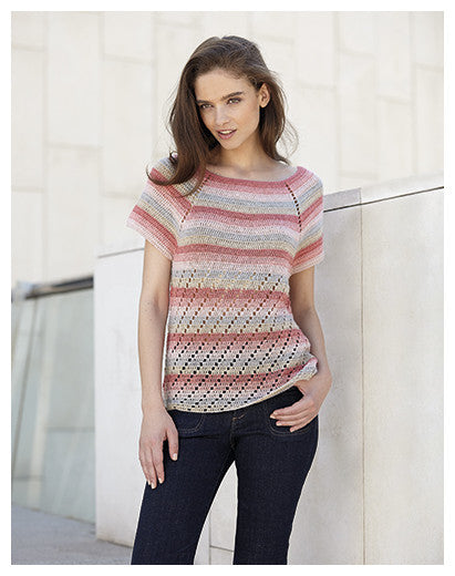 Katia No. 3 Concept - Design 15 - Crocheted Short Sleeved Raglan Top with Lace Accent in Silky Lace
