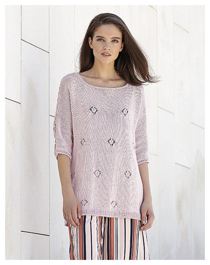 Katia No. 3 Concept - Design 17 - Scoop Neck Pullover with Lace Back in Cotton-Cashmere - front