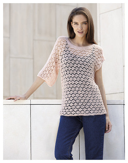 Katia No. 3 Concept -Design 18 - Asymetrically Sleeved Lace Pullover in Silky Lace
