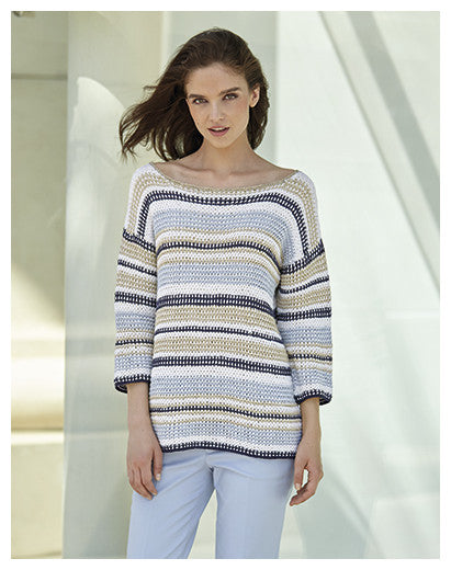 Katia No. 3 Concept - Design 23 - Striped and Textured Pullover with 3/4 Sleeves in Cotton-Cashmere