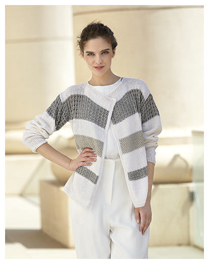 Katia No. 3 Concept - Design 06 - Jacket with Openwork and Textured Stripes in Cotton-Cashmere