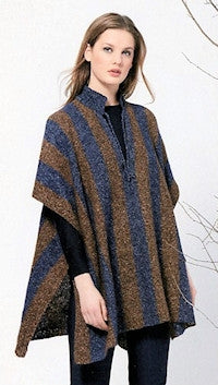 Katia No. 4 Concept - Design 32 - Striped Poncho in Silk Tweed