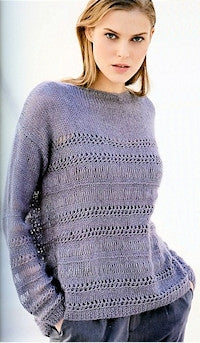 Katia No. 4 Concept - Design 41 - Long-Sleeved Pullover with Mesh Accents in Seta-Mohair