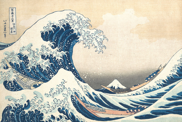 japanese woodblock of ocean