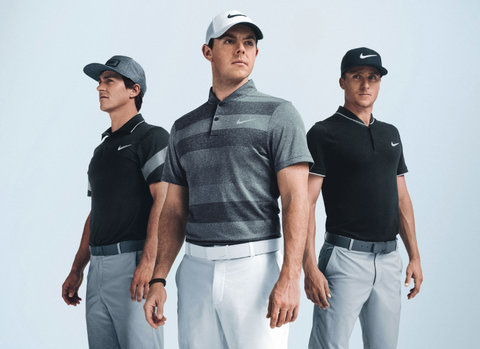 three men wearing visors and fitted golf shirts