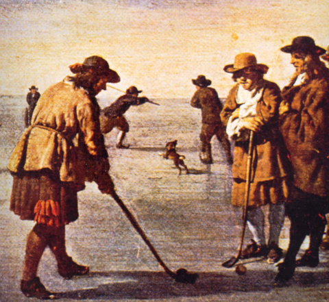 men playing golf by sea