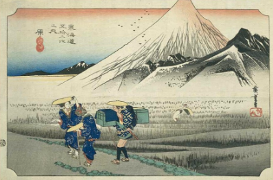 japanese wood block of mountain