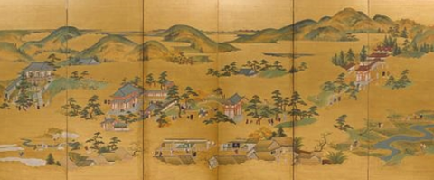 japanese wood block of valley