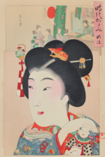 japanese wood block of woman