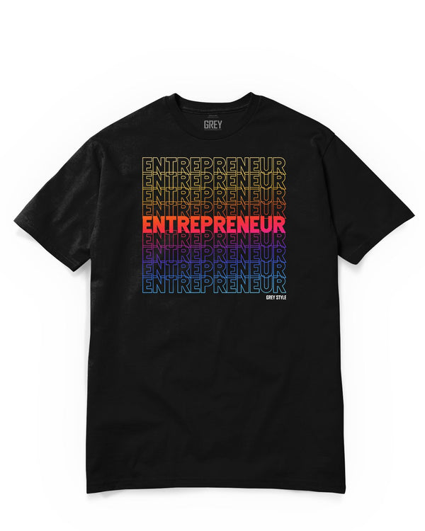 Colorful Entrepreneur Typography Tee-T-Shirt-Black-XS-GREY Style