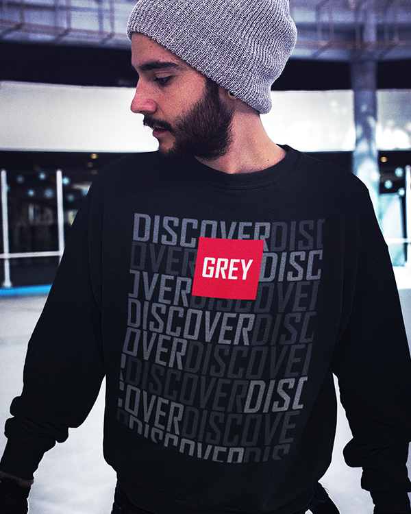 Signature Red Box Logo Sweatshirt (Ver.3)-Sweatshirt-Black-S-GREY Style