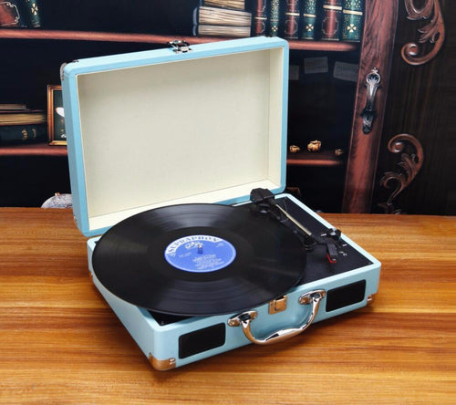 Mobilize your music with this three-speed portable turntable.