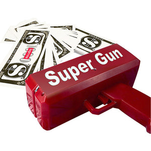 Make it rain with this toy electronic money gun. Powered by 2 AA batteries (not included).