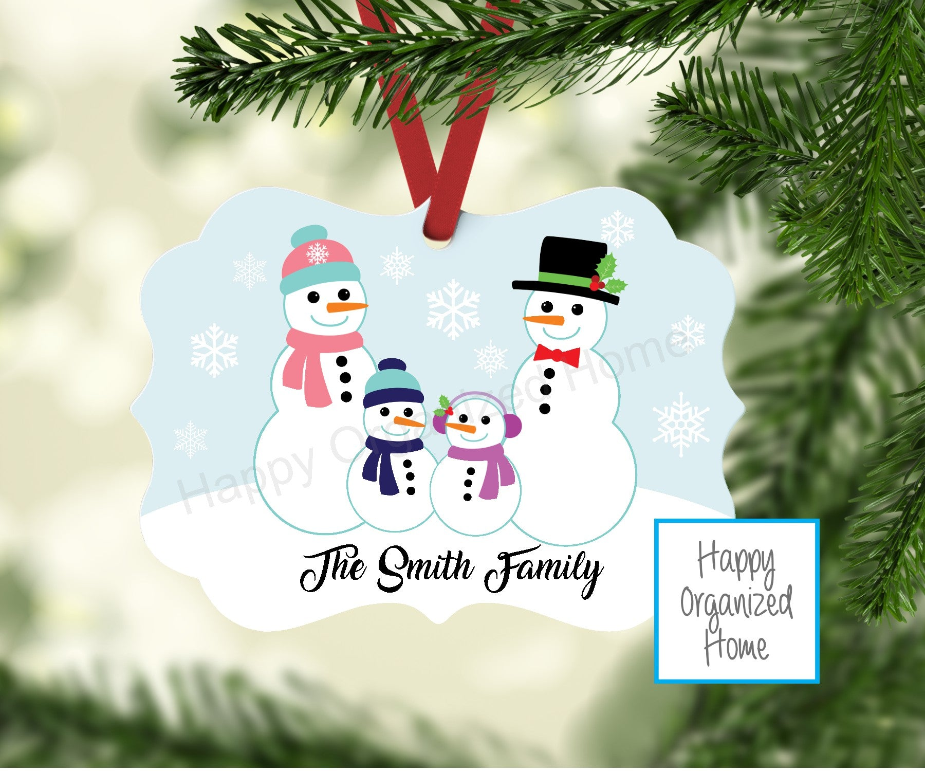 Snowman Family  Ornament Personalized