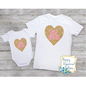 Big Sister Little Sister Apparel Set - Glitter hearts bodysuit and tshirt set