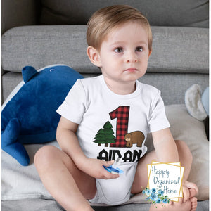 Buffalo Plaid Birthday Shirt - Infant Bodysuit and Kids t-shirt